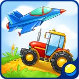 Lernen Fahrzeuge für Kleinkinder - interaktive Kinder Lernspiel um militärische Ausrüstung zu lernen, Rettung, Landwirtschaft, Bau Transport und hören Geräusche des Transports: Traktor, Löschfahrzeug, Tank, Bomber