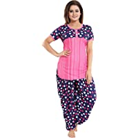 Tucute Top and Dhoti Style Bottom Night Suit/Nightdress for Women and Girls (Size: L/XL/XXL)