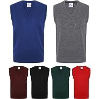 Voice7 Kids Boys Mens V Neck Tank TOP Plain Sleeveless Jumper - 3 Years to Adult XL - School Uniform + Mens Knitted…