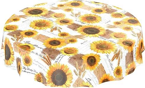 Nappe d/ét/é Toile cir/ée Taille au choix Mit Muster Rund 100cm Tournesols jaune et blanche Toile cir/ée