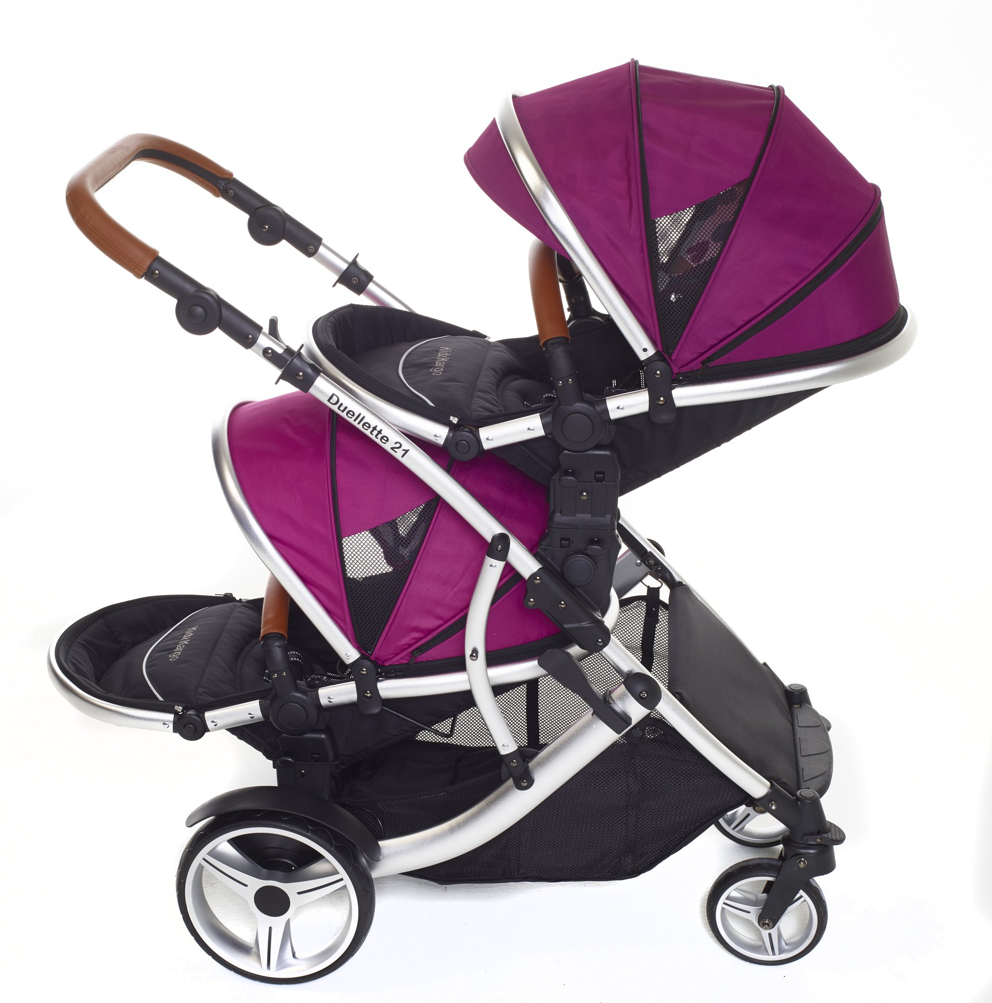 Kids Kargo Double Twin Tandem Pushchair. Duellette BS Suitable for Twins from 6 months. Stroller by Kids Kargo (Dooglebug raspberry) Kids Kargo Demo video please see link http://youtu.be/Ngj0yD3TMSM Various seat positions. Both seats can face mum (ideal for twins) Suitability Twins (Newborn Twins if used with car seats). Accommodates 1 or 2 car seats 3