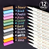 Marqueur Métallique Pens, Rymall [12 Couleurs] Utilisation sur Papier Verre Plastique Poterie Bois Roche Métal, pour Album Photo Carte DIY Graffiti , Dessin