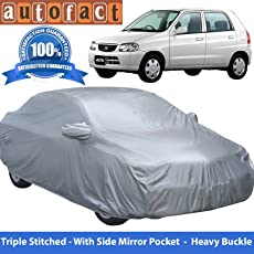 Autofact Premium Silver Matty Triple Stitched Car Body Cover with Mirror Pocket for Maruti Alto Old Model (2000 to 2014)