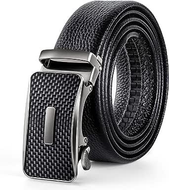 "Men's Belt Genuine Leather Ratchet Belt for Men with Automatic Sliding Buckle Black 35mm Wide 125CM(47"")Trim to Exact Fit"
