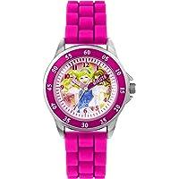 Principesse Disney - orologio al quarzo con quadrante rosa per imparare a leggere l'ora, cinturino in gomma bianca, da…