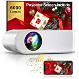 YABER WiFi Projector Mini Portable Projector 6000 Lumens 1080P Full HD Projector[Projector Screen Include] 236' Home…