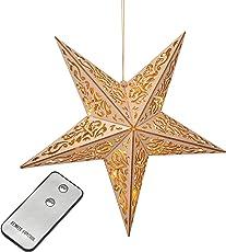 Holzstern mit Fernbedienung 40cm LED beleuchteter Stern Weihnachts Fenster Deko