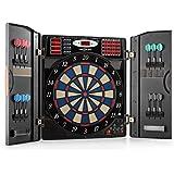 OneConcept Masterdarter • Dartautomat • elektronische Dartscheibe • E-Darts • 211 Spielvarianten • bis zu 16 Spieler • virtueller Gegner • LED-Anzeigen • 12 Softtip-Darts • 2 Türen • schwarz