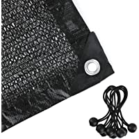 Shade Netting 70%-75% Sunblock Shade Cloth - Black Bulk UV Resistant Fabric Mesh Tarp for Greenhouse Plant Shade Net Taped Edge with Grommets Included 8pcs 6