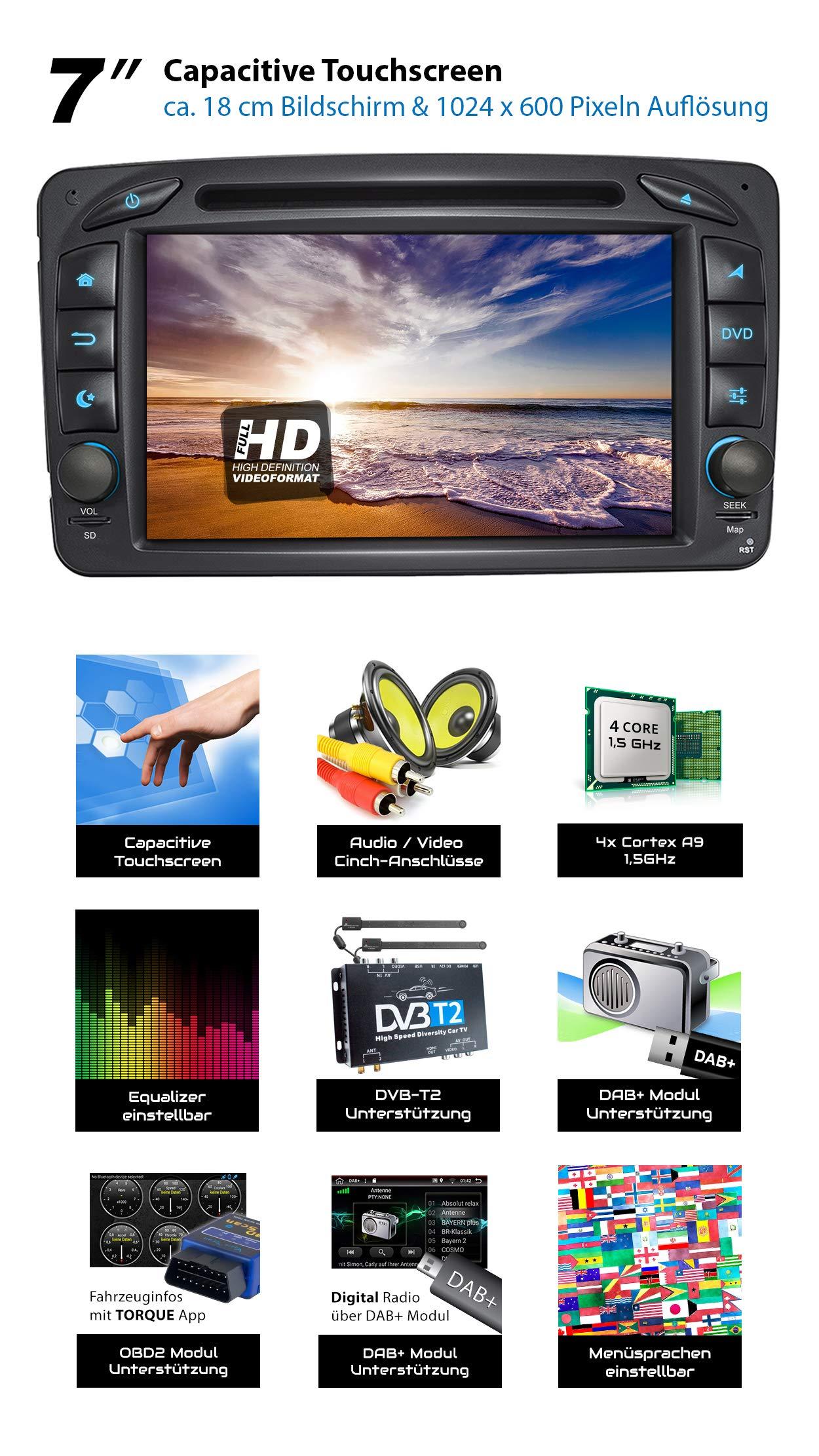 XOMAX-XM-07ZA-Autoradio-mit-Android-81-passend-fr-Mercedes-Viano-CLK-Vito-4Core-GPS-Navigation-DVD-CD-I-Support-WiFi-4G-DAB-OBD2-I-Bluetooth-7-Zoll-18-cm-Touchscreen-USB-SD