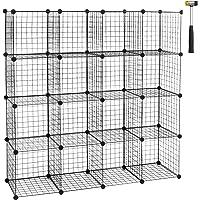 WOLTU SR0123sz-2 Étagère Cube en Grille étagère Conception DIY pour Rangement Armoire de penderie métallique Noir 16…