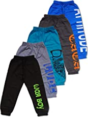 T2F Boys Printed Track Pants (Pack of 5)- Olive-Blue-Brown-Grey-Green