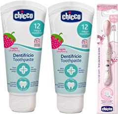 Strwaberry Toothpaste (12 m+), 50ml, Pack of 2 and Pink Toothbrush