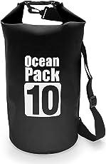 MyGadget Wasserdichte Dry Bag 10L - Trockenbeutel Wasserfeste PVC Drybag Tasche | Schutz vor Wasser & Nässe Outdoor Beutel Urlaub Trockentasche - Schwarz