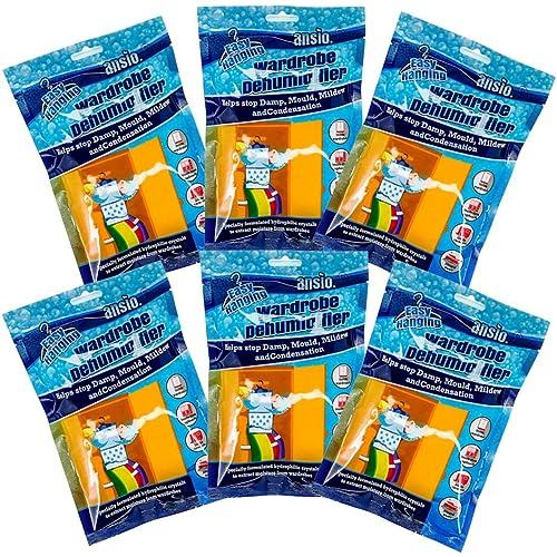 ANSIO Deumidificatore per guardaroba sospeso, dispositivo di rimozione della condensa, assorbitore di umidità, deumidificatori per umidità, muffa, umidità in guardaroba, camera da letto, roulotte, bagno, cantina - 210 g Confezione da 6