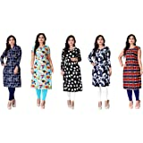 Dharmi Trendz Women's Cotton A-Line Crepe Printed Semi-Stitched Kurti (Pink, Free Size) -Pack of 5