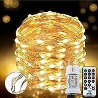 [220 LED] Lichterkette, 25M 8 Modi lichterkette außen strom lichterketten wasserdicht außen/innen Kupfer Lichterketten…
