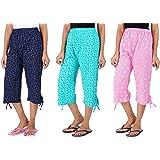 Likeabl Women's Cotton Printed Capri, 3/4 Pyjama for Girls | Regular Fit Western Sleepwear/Lounge wear/Night Dress…