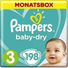 Pampers Baby-Dry Windeln, Gr.3, 6-10kg, Monatsbox, 1er Pack (1 x 198 Stück)