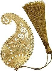 Art & Craft Ambi Flower Design, Metal Bookmark with Tassel,Pendant Charm, School Supplies Page Holder Charm - Golden Color