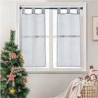 Topfinel 2 Panneaux Noël Rideaux Brise-Bise Gris 45x90cm en Polyester Prêt à Poser Voilage Transparents de Fenêtre pour…