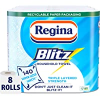 Regina Blitz Household Towel, 8 Rolls, 560 Super-Sized Sheets, Triple Layered Strength