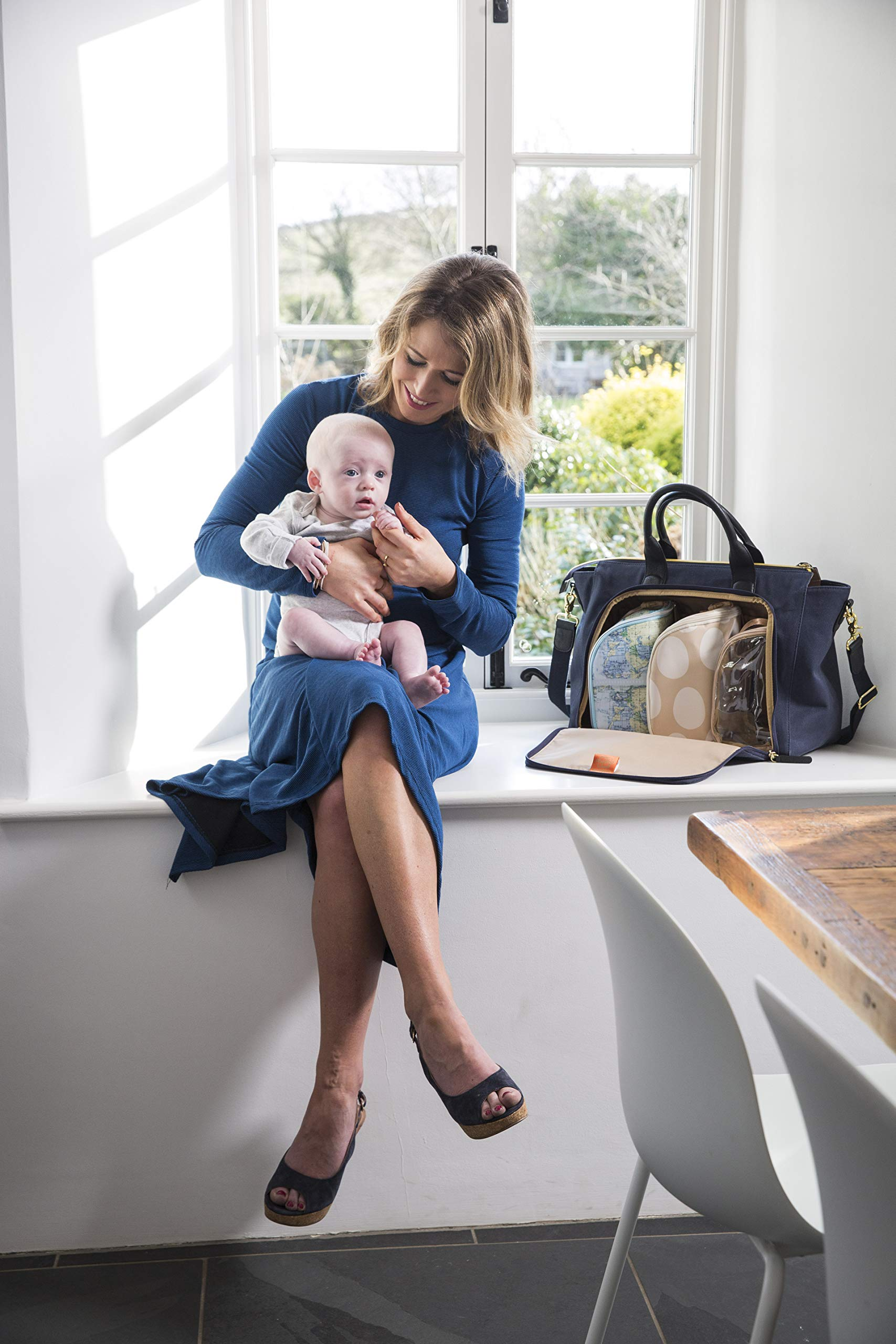 3200006f0637f PacaPod Croyde Navy Designer Baby Changing Bag – Luxury Canvas and ...