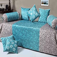 HandTex Home Premium Velvet Diwan Set of 8pc Blue(1 Bedsheet with 2 Blosters and 5 Cushion Covers)