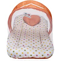 Superminis Multicolor Dot On White Base Design Bedding Set Thick Base, Foldable Mattress, Heart Shape Pillow and Zip Closure Mosquito Net (0-3 Months, Peach)