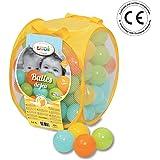 LUDI - Sac de 75 balles multicolores souples en plastique anti-écrasement. A partir de 6 mois. Balles à lancer, faire rouler et pour piscine à balles. Diamètre : 6 cm -réf.  2798