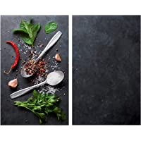 Allstar Plaque de protection en verre Basilic - Set de 2, couvre-plaque de cuisson pour plaques de cuisson…