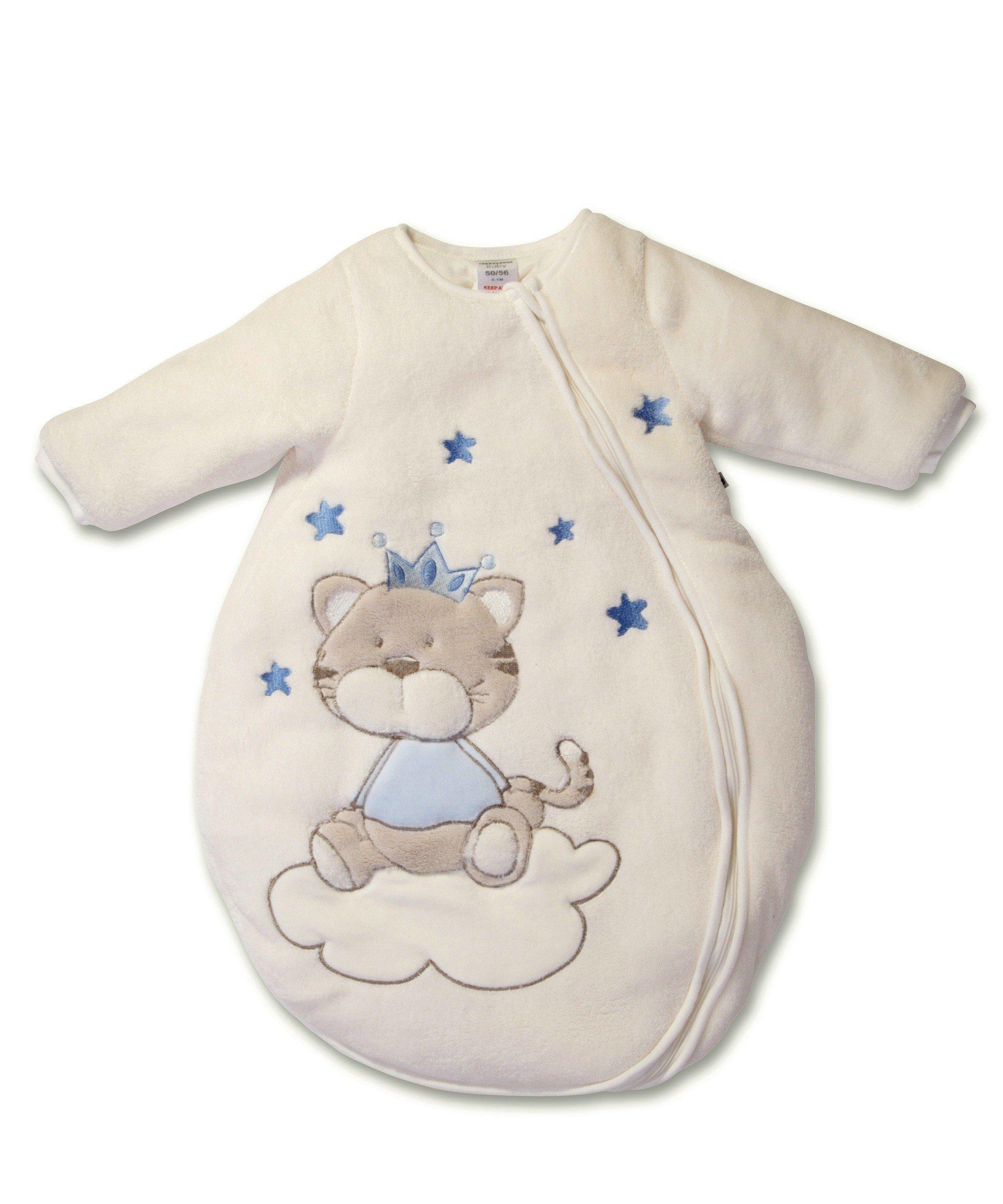 Jacky Jungen Baby Ganzjahres Schlafsack Langarm Gr 50//56 350013 100/% Baumwolle Hellblau//Ringelstreifen