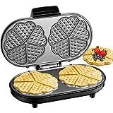 Piastra Per Waffle Doppia 1200W, 10 Cuore Waffle Alla Volta, Cialdiera Acciaio Inossidabile, Antiaderente, Indicatori Luminos