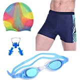 THE MORNING PLAY Men Swimming Costume Free Size (28INCH-32INCH) Goggles Cap 2 EARPLUG Nose Clip Swimsuit Swimming Kit