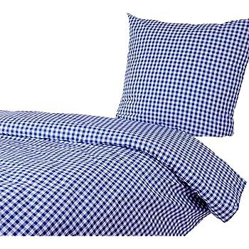 Hans Textil Shop Bettwäsche 135x200 80x80 Cm, Karo 1x1 Cm, Blau, 100%  Baumwolle, Reißverschluss, Kariert, Bettbezug, Gewebt, Karomuster,  Bettgarnitur, ...