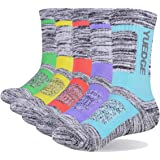 YUEDGE Women's 5 Pairs Wicking Breathable Cushion Anti Blister Casual Crew Socks Walking Athletic Socks Multi Performance