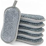 éponges Vaisselle Lavable,6 tampons grattants Non rayants double face La Cuisine antibactérienne en Microfibre éponge nettoie