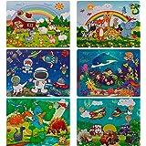 swonuk 60 Piezas Puzzles de Madera Conjunto de 6 Rompecabezas de Madera Educativos Juguetes Niños 2 a 5 años Regalos de Cumpl