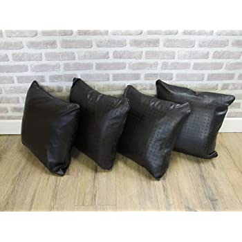 """2 Brown Check Faux Leather Cushion Covers 16/"""" 18/"""" 20/"""" Scatter Pillows"""