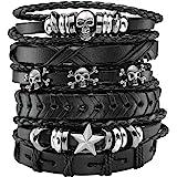 MILAKOO 6Pcs Bracciale in pelle PU Intrecciata Corda Donna Uomo Punk Rock Gothic Skull Bracelet