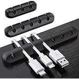 SOULWIT® 3-Pack Kabelhouder Clips, kabelmanagement koord organizer siliconen zelfklevend voor USB-oplaadkabel netsnoer muis k