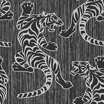 Black White Zebra Print Wallpaper Amazoncouk Kitchen Home