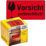 AVERY Zweckform Waarschuwingsetiketten 7211 Voorzichtig breekbaar (neon rood, 100 x 50 mm, 200 etiketten op rol) in kartonnen
