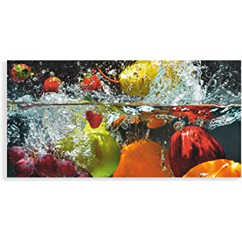 Wallario Premium Glasbild Küche Paprika rot gelb orange grün Wasser 125 x 50 cm