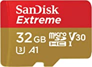 SanDisk Extreme 32 GB microSDHC Memory Card, SD Adapter with A1 App Performance, Rescue Pro Deluxe, Up to 100 MB/s, Class 10,