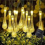 LED Solar String Lights, 50LED 9.5M/31FT Outdoor Garden Fairy Lights 8 Modes, Waterproof Crystal Raindrop Decorative Lights f