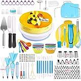 OMEW 325pcs Plateau Tournant de Gâteau, Kit de Pâtisserie Décoration Professionnel Ustensiles Kit pour Glaçage Déco Poches Do