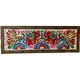 indischerbasar.de Chemin de table Nappe indienne Tenture Eléphants Fleurs 151x50cm Couvre-lit Rideau Jeté de lit/de canapé