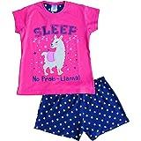 """Pijama corto para niñas con texto """"No Prob-Llama"""", color rosa"""