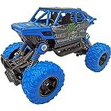 Popsugar Pull Back Rock Crawler Monster Truck with Rubber Wheels, Spring Shock Absorber Suspension System for Kids (Blue)